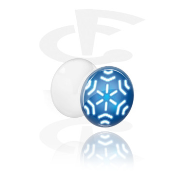 Tunnels & Plugs, White Double Flared Plug with Winter Snowflake Design, Acrylic