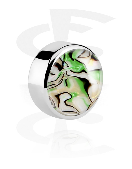 Palline, barrette e altro, Disco per barrette da 1,6 mm con madre perla, Acciaio chirurgico 316L