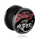 "Tunnels & Plugs, Black Tunnel with ""Satan's little helper"" Imprint, Acrylic"
