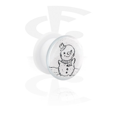Tunnels & Plugs, White Tunnel with Winter Snowman Design, Acrylic