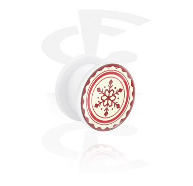 Tunele & plugi, White Tunnel z Winter Snowflake Design, Acrylic
