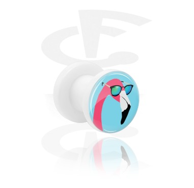 Tunnels & Plugs, Tunnel with Flamingo Design, Acrylic