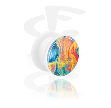 Tunnels & Plugs, Tunnel with Rainbow Design, Acrylic