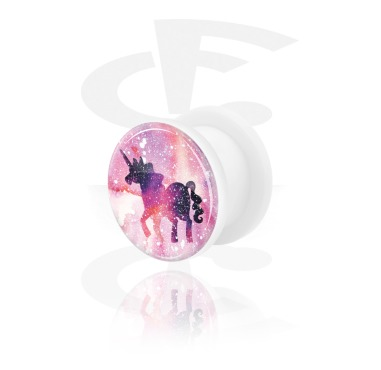 Tunnels & Plugs, Tunnel with Unicorn Design, Acrylic
