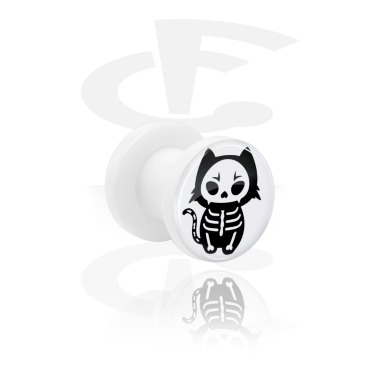 Tunnels & Plugs, White Tunnel with cute skeleton design and Screw, Acrylic