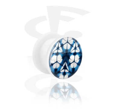 Tunnels & Plugs, Double Flared Tunnel with blue batik tie-dye design, Acrylic