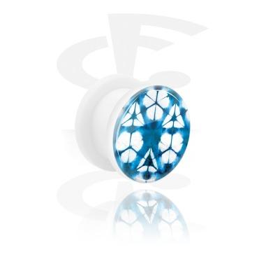 Tunnel & Plugs, Double Flared Tunnel mit blauem Batik-Design, Acryl