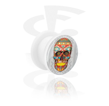 Tunnels & Plugs, White Tunnel with Skull Design, Acrylic