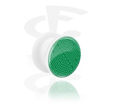 Tunnels & Plugs, Tunnel with green Design, Acrylic