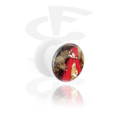 Tunnels & Plugs, White Tunnel with Vintage Fairy Design, Acrylic
