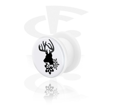Tunnels & Plugs, White Tunnel with Winter Stag Design, Acrylic
