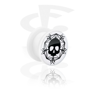 Tunnels & Plugs, White Tunnel with Winter Skull Design, Acrylic