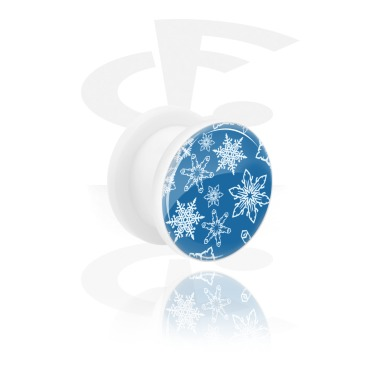 Tunnels & Plugs, White Tunnel with Snowflake Design, Acrylic