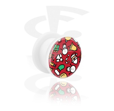 Tunnels & Plugs, White Tunnel with Christmas Design, Acrylic