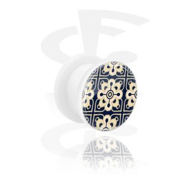 Tunnels & Plugs, White Tunnel with Arabian Ceramics, Acrylic