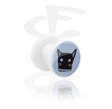 Tunnels & Plugs, White Tunnel with Cat Design, Acrylic