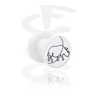 Tunnels & Plugs, White Tunnel with One Line Animal, Acrylic