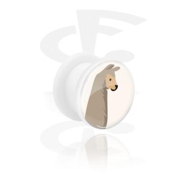 Tunnels & Plugs, White Tunnel with Alpaca Design, Acrylic