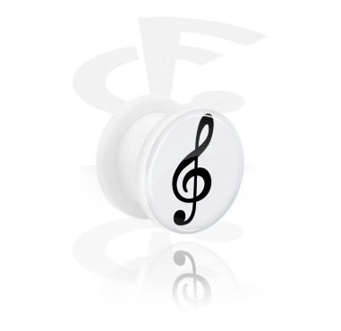 Tunnels & Plugs, White Tunnel with Clef Design, Acrylic