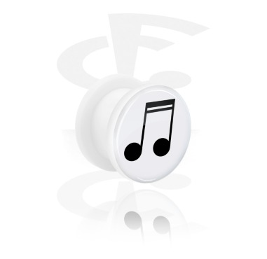 Tunnels & Plugs, White Tunnel with Musical Note Design, Acrylic