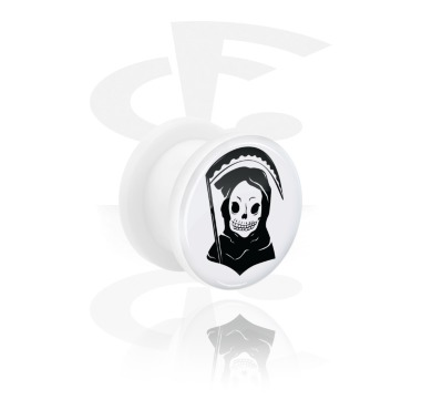 Tunnels & Plugs, White Tunnel with Freaky Skull, Acrylic
