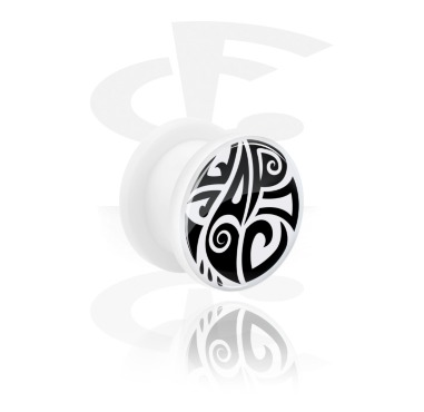 Tunnels & Plugs, White Tunnel with Maori Design, Acrylic