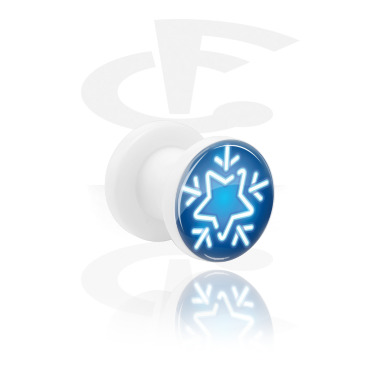 Tunnels & Plugs, White Tunnel with Winter Design, Acrylic