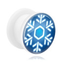 Tunnels & Plugs, White Tunnel with Winter Snowflake Design, Acrylic
