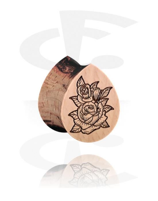 Tunnelit & plugit, Tear-Shaped Double Flared Plug kanssa Rose design, Puu