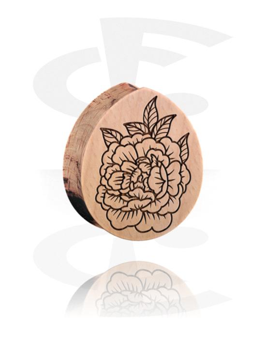 Tunele & plugi, Tear-Shaped Double Flared Plug z flower design, Drewno