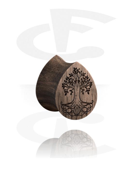 Tunnelit & plugit, Tear-Shaped Double Flared Plug kanssa tree design, Puu