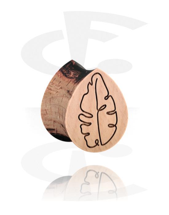 Tunnelit & plugit, Tear-Shaped Double Flared Plug kanssa Leaf Design, Puu