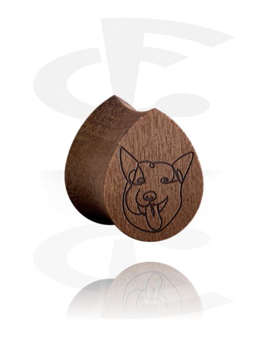 Tunnelit & plugit, Tear-Shaped Double Flared Plug kanssa Dog Design, Puu