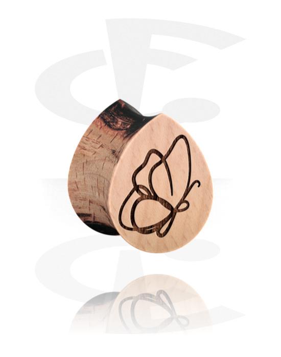 Tunnelit & plugit, Tear-Shaped Double Flared Plug kanssa Butterfly Design, Puu