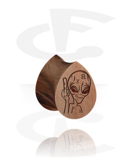 Tunnelit & plugit, Tear-Shaped Double Flared Plug kanssa Alien Design , Puu