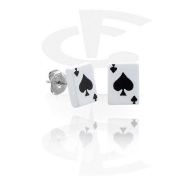 """Ohrstecker mit Spielkarte """"Pik"""""""