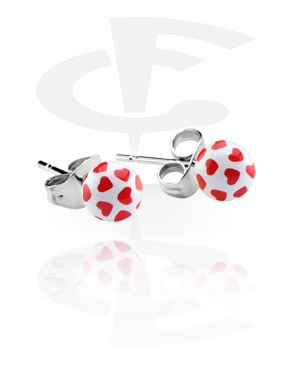 Hearts Playing Card Studs