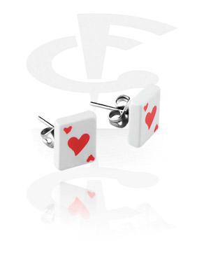 """Ohrstecker mit Spielkarte """"Herz"""""""