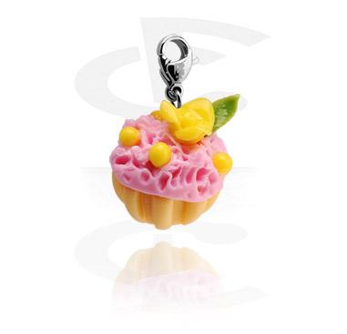 Porte-Charms, Pendentif avec Cupcake, Acier chirurgical 316L, Pâte fimo