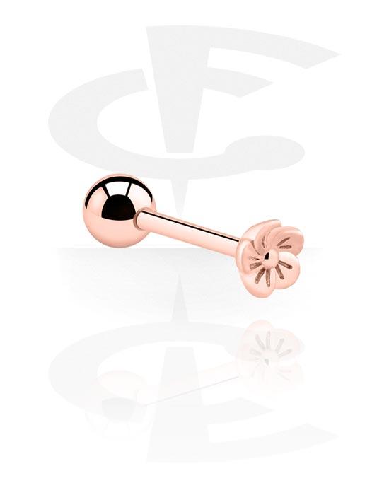 Šipkice, Barbell s flower attachment, Kirurški čelik pozlaćen ružičastim zlatom 316L