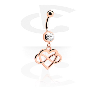 Curved Barbells, Fashion Banana, Rose Gold Plated Steel