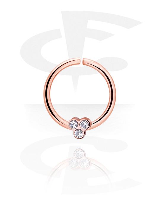 Piercingringen, Continuous Ring, Met roségoud verguld chirurgisch staal