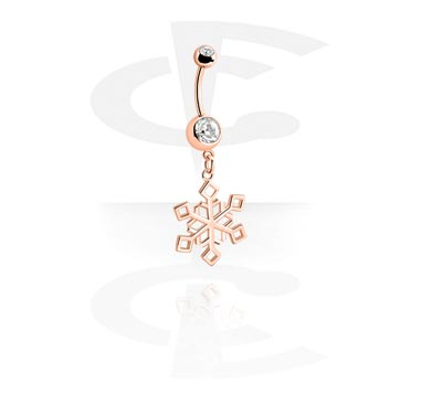 Curved Barbells, Fashion Banana with Snowflake Design, Rosegold Plated Surgical Steel 316L