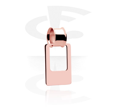 Tunele & plugi, Double Flared Tube with Creole, Rose Gold Plated Steel