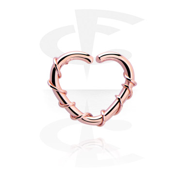 Kółka do piercingu, Heart-shaped Continuous Ring, Rose Gold Plated Steel