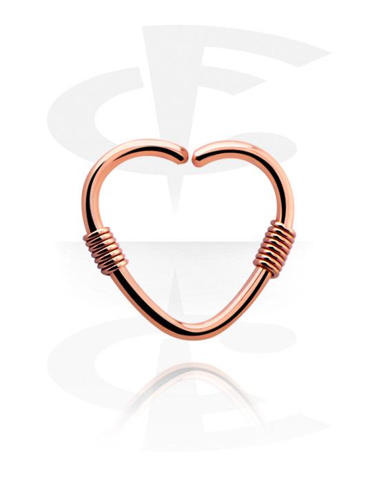 Piercing Ringe, Herzförmiger Continuous Ring, Rosé-Vergoldeter Chirurgenstahl 316L