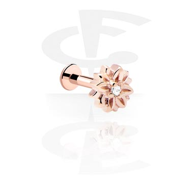 Labrets, Internally Threaded Jewelled Labret, Rose Gold Plated Steel