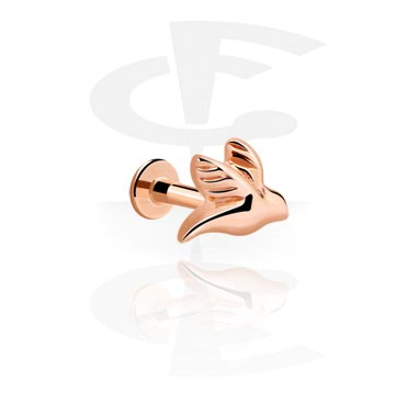 Labrets, Internally Threaded Labret, Rose Gold Plated Steel