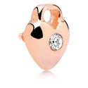 Boules et Accessoires, Accessoire avec pierre en cristal pour barres à filetage interne, Acier chirurgical 316L, or rosé