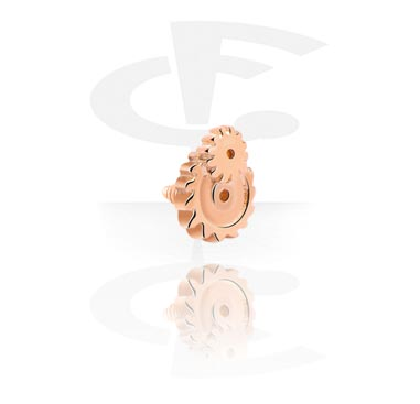 Balls & Replacement Ends, Attachment for Internally Threaded Pins, Rose Gold Plated Steel